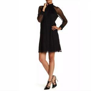 Nina Leonard Shirred Mock Neck Dot Dress Black 230